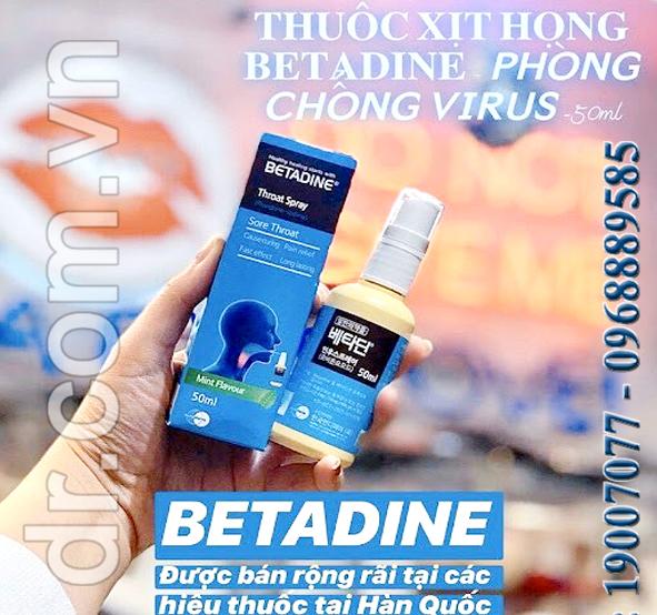 Xịt họng kháng khuẩn số 1 Hàn Quốc BetadineThroat Spray 50ml