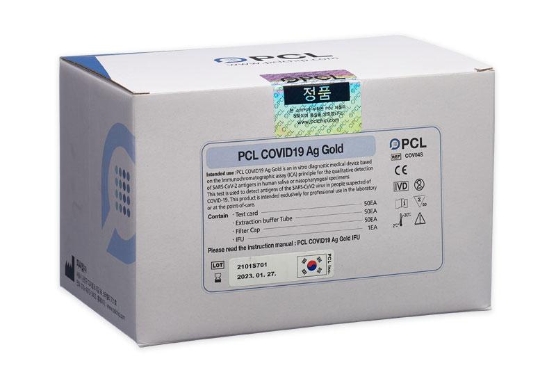 Kit Test nhanh covid bằng nước bọt - PCL Covid19 Ag Gold - Saliva Test Medium - Hộp 25 Test
