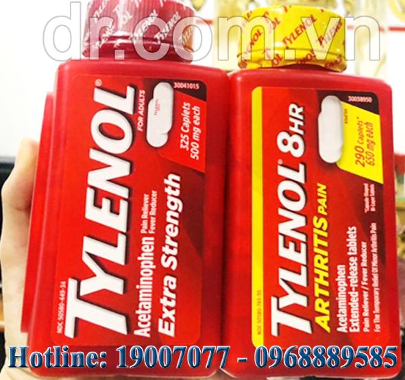 VIÊN UỐNG GIẢM ĐAU TYLENOL Acetaminophen 650mg  - HẠ SỐT TYLENOL EXTRA STRENGTH 500mg CỦA MỸ